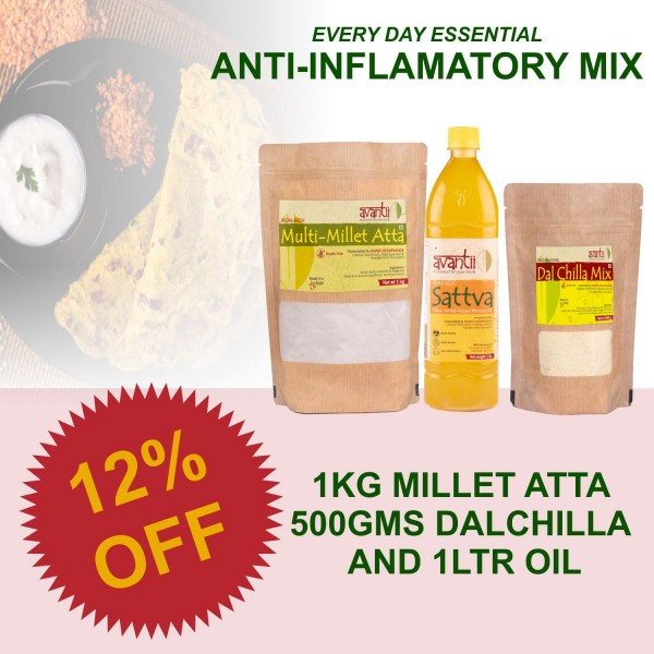 Anti-inflamatory Mix : 1kg Millet Aata, 500 gms Dalchilla and 1L Oil